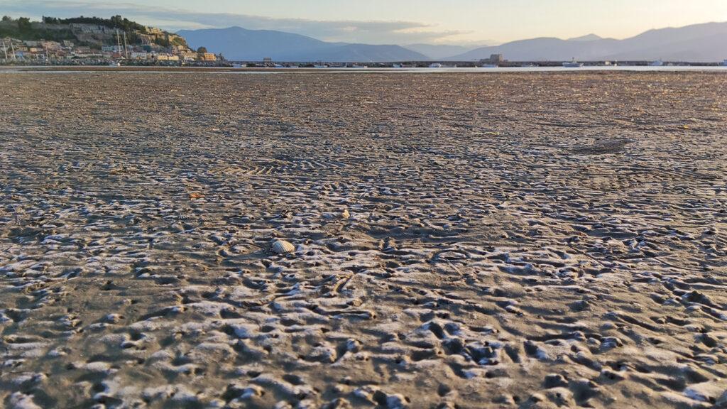 Κοχύλια πολύ μακριά από τη θάλασσα με την άμπωτη στο Ναύπλιο